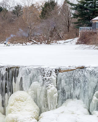 A Frozen Waterfall Barbecue   Poster by Stroudwater Falls Photography