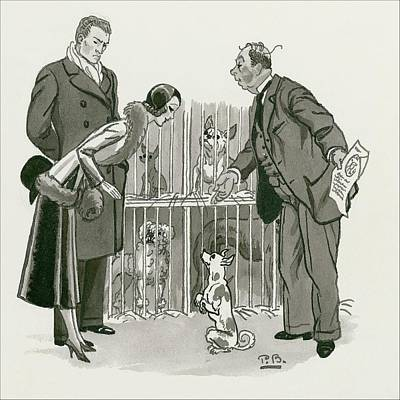 A Gentleman Selling Dogs Poster by Pierre Brissaud