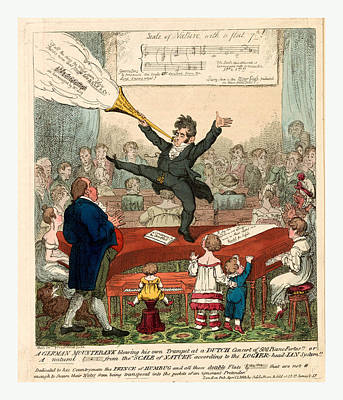A German Mountebank Blowing His Own Trumpet At A Dutch Poster