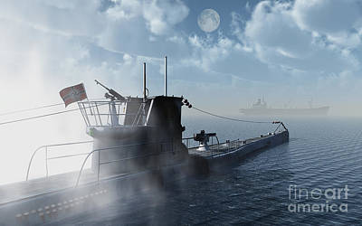A German U-boat Moving In Against An Poster