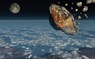 A Giant Asteroid Burning Poster by Mark Stevenson