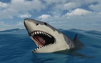 A Giant Megalodon Shark Poster