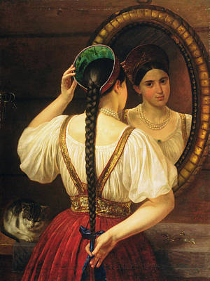 A Girl At The Mirror, 1848 Oil On Canvas Poster by Philipp Osipovich Budkin