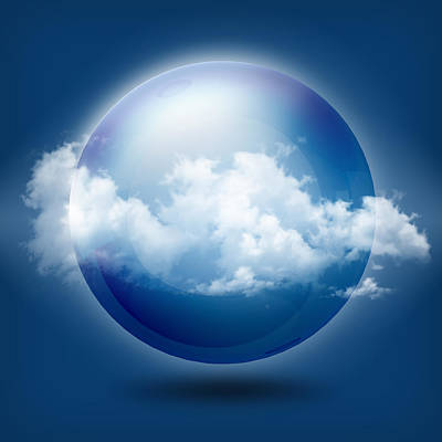 A Glass Transparent Ball With Cloud  Poster