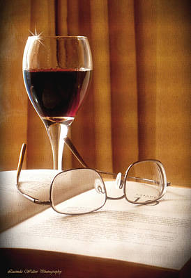 A Good Book And A Glass Of Wine Poster by Lucinda Walter