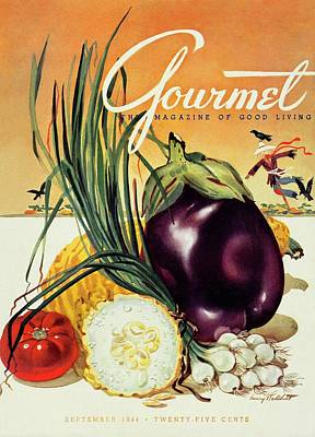 A Gourmet Cover Of Vegetables Poster by Henry Stahlhut