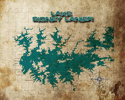 Vintage Map Print Lake Sidney Lanier Georgia Poster by Greg Sharpe