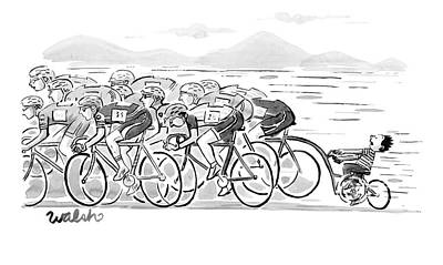 A Group Of Bikers Race Competitively. At The End Poster