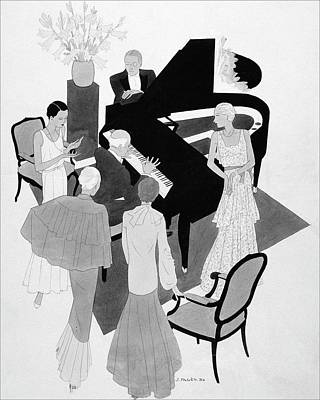 A Group Of People Around A Piano At A Party Poster