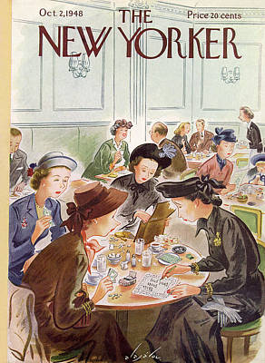 A Group Of Women Review A Dinner Receipt Poster