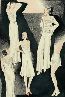A Group Of Women Wearing White Designer Dresses Poster