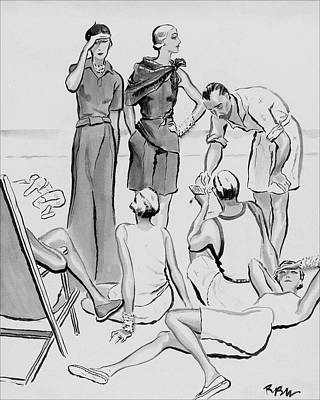 A Group Of Young People On The Lido Beach Poster