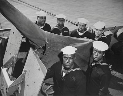 A Gun Crew Of Six African Americans Poster by Everett