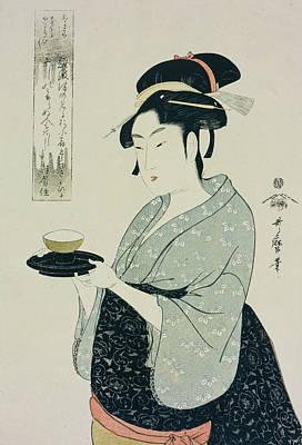 A Half Length Portrait Of Naniwaya Okita Poster