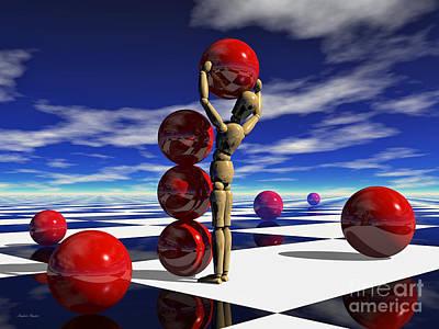 Poster featuring the digital art A Hard Day's 'work by Sandra Bauser Digital Art