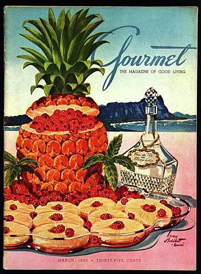 A Hawaiian Scene With Pineapple Slices Poster by Henry Stahlhut
