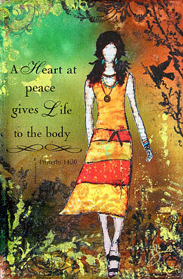 A Heart At Peace Inspirational Christian Artwork With Bible Verse Poster