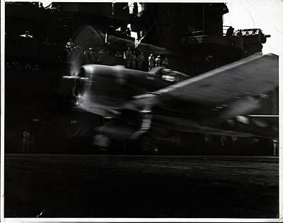 A Hellcat Airplane In Flight Poster by Edward Steichen