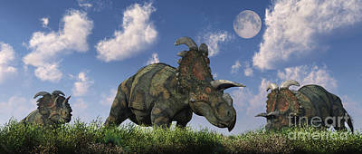 A Herd Of Albertaceratops Grazing Poster by Mark Stevenson
