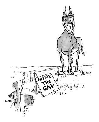 A Horse Approaches A Large Crack In The Ground Poster