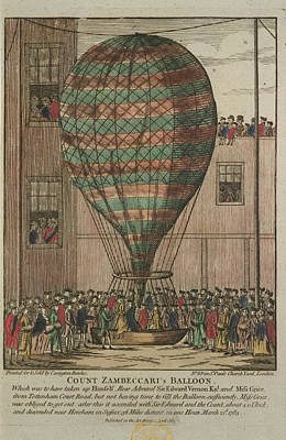 A Hot Air Balloon At Tottenham Court Road Poster
