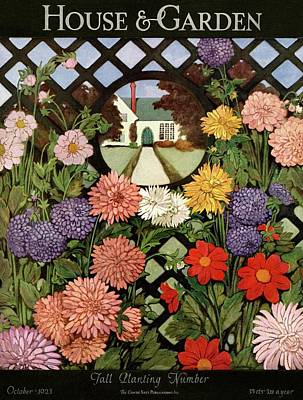 A House And Garden Cover Of Flowers Poster