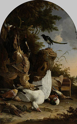 A Hunter's Bag Near A Tree Stump With A Magpie Poster by Litz Collection