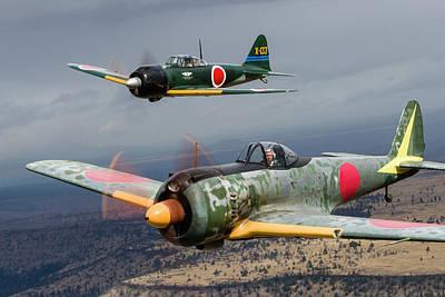 A Japanese A6m Zero And A Ki-43 Oscar Poster by Rob Edgcumbe