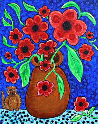 A Jug Of Red Flowers Poster by Sarah Loft