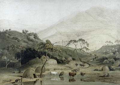 A Kaffir Village, C.1801 Wc & Graphite On Paper Poster