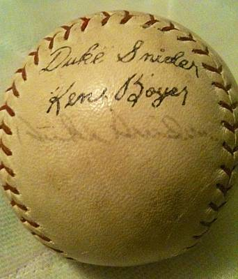 A Ken Boyer And Duke Snider Autograph Baseball Poster by Lois Ivancin Tavaf