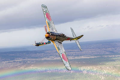 A Ki-43 Oscar Breaks Left While The A6m Poster by Rob Edgcumbe