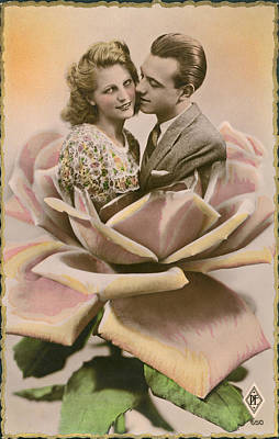 A Kiss On A Rose Poster by Underwood Archives