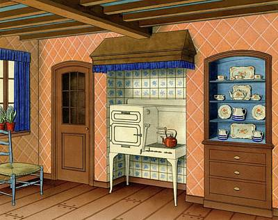 A Kitchen With An Old Fashioned Oven And Stovetop Poster