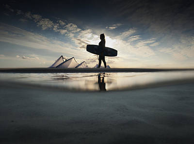 A Kitesurfer Walks Along The Beach At Poster