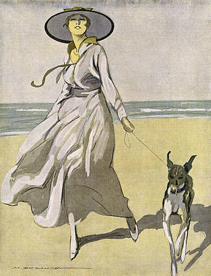 A Lady Walks With Her Lurcher Poster