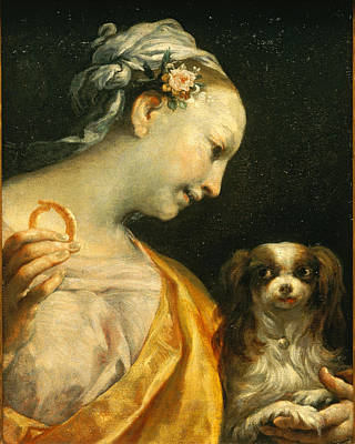 A Lady With A Dog Poster by Giuseppe Maria Crespi