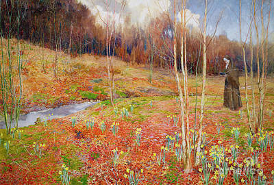A Landscape In Spring With A Nun Poster