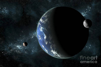 A Large Water Covered Planet With Two Poster by Marc Ward