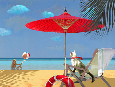 A Lifeguard Is On Duty Today Poster by Victoria Fomina
