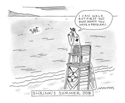 A Lifeguard Shouts At A Drowning Man Poster