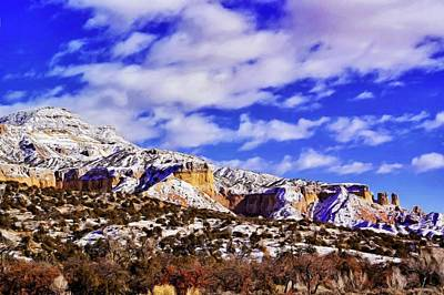 A Light Snow At Ghost Ranch Poster by Jim Buchanan