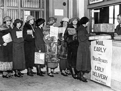 A Line Of Women At The Post Office Mailing Their Christmas Packa Poster