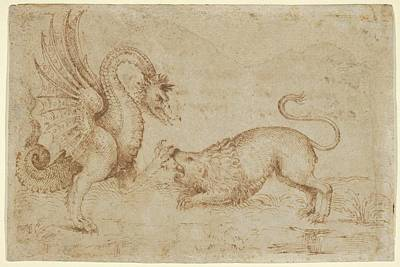 A Lion Confronting A Dragon Poster by Anonymous, Italian, Tuscan, 16th century