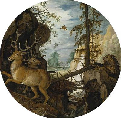 A Lion Hunting Two Deer Poster by Celestial Images