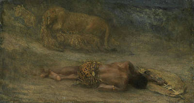 A Lioness With Her Cubs At A Dead Black Man Named Nemesis Poster by Litz Collection