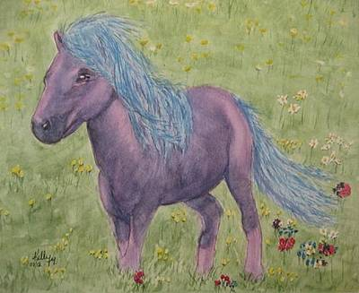 Poster featuring the painting A Little Girls Imagination Pony by Kelly Mills