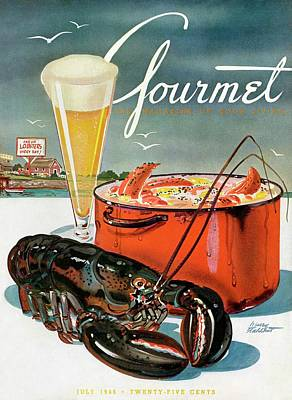 A Lobster And A Lobster Pot With Beer Poster