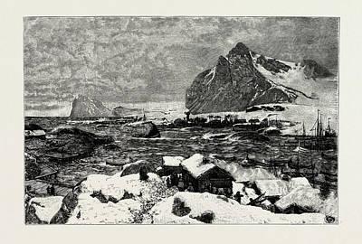 A Lofoten Village During The Fishing Season Poster by Norwegian School