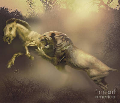 A Machairodus Saber-toothed Cat Attacks Poster by Jan Sovak